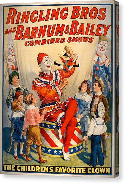 Vintage Ringling Brothers And Barnum And Bailey Combined Circus Canvas Print