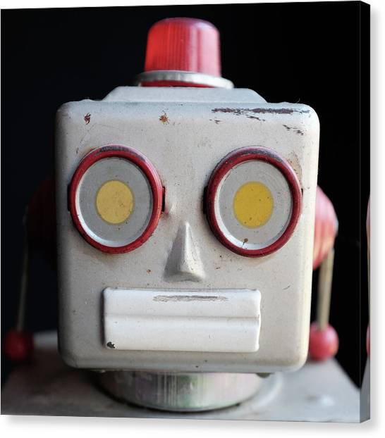 Squares Canvas Print - Vintage Robot Square by Edward Fielding