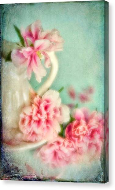 Vintage Romantic Peonies Canvas Print