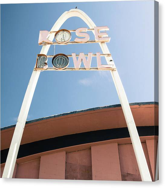 Historic Route 66 Canvas Print - Vintage Rose Bowl Route 66 Tulsa - Square Format by Gregory Ballos