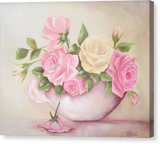 Vintage Roses Shabby Chic Roses Painting Print Canvas Print