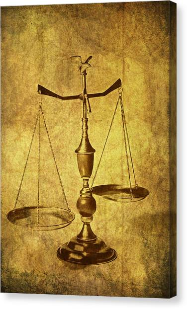 Law Canvas Print - Vintage Scale by Tom Mc Nemar