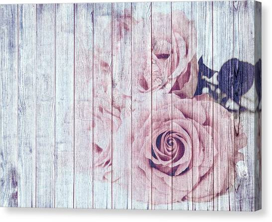 Vintage Shabby Chic Dusky Pink Roses On Blue Wood Effect Background Canvas Print