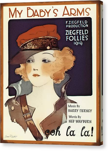 Follies Canvas Print - Vintage Sheet Music Covers-jp3503 by Jean Plout