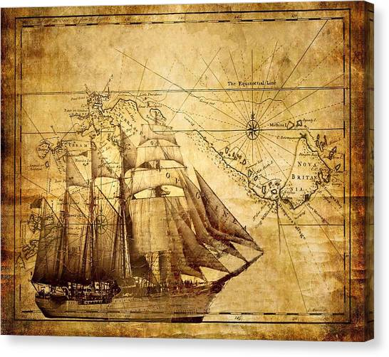 Vintage Ship Map Canvas Print