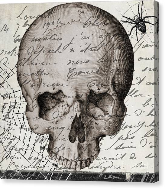 Halloween Canvas Print - Vintage Skull Halloween Paris by Mindy Sommers