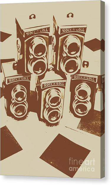 Vintage Camera Canvas Print - Vintage Snapshots And Old Cameras by Jorgo Photography - Wall Art Gallery