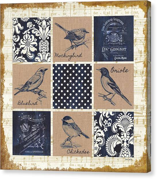 Mockingbird Canvas Print - Vintage Songbird Patch 2 by Debbie DeWitt