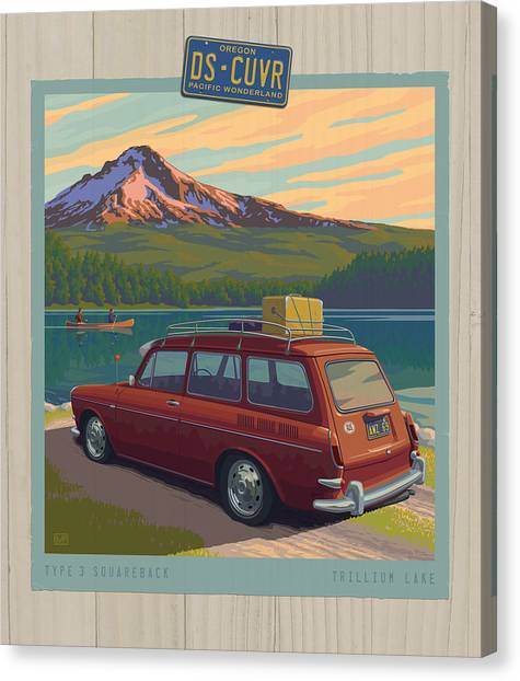 Rack Canvas Print - Vintage Squareback At Trillium Lake by Mitch Frey