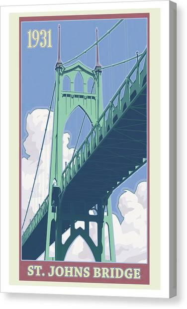 Portland Canvas Print - Vintage St. Johns Bridge Travel Poster by Mitch Frey