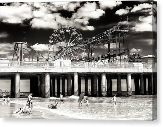 Vintage Steel Pier At Atlantic City Canvas Print by John Rizzuto