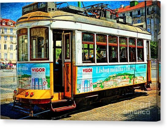 Vintage Street Tram In Lisbon Canvas Print