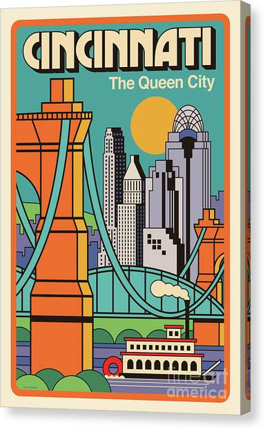 Cincinnati Bengals Canvas Print - Vintage Style Cincinnati Travel Poster by Jim Zahniser
