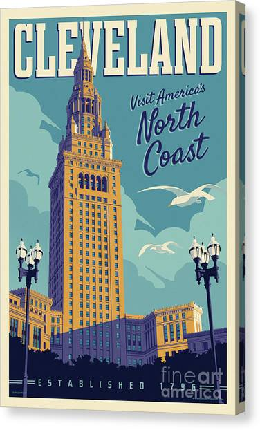 Cleveland Indians Canvas Print - Vintage Style Cleveland Travel Poster - America's North Coast by Jim Zahniser