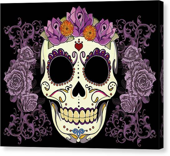 Purple Canvas Print - Vintage Sugar Skull And Roses by Tammy Wetzel