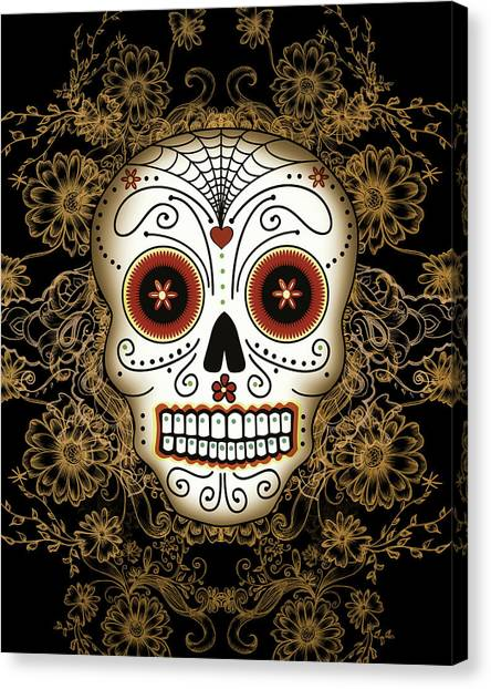 Spider Web Canvas Print - Vintage Sugar Skull by Tammy Wetzel