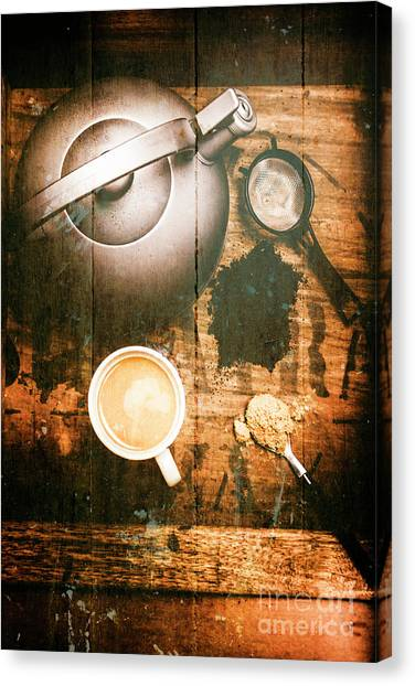 Utensil Canvas Print - Vintage Tea Crate Cafe Art by Jorgo Photography - Wall Art Gallery