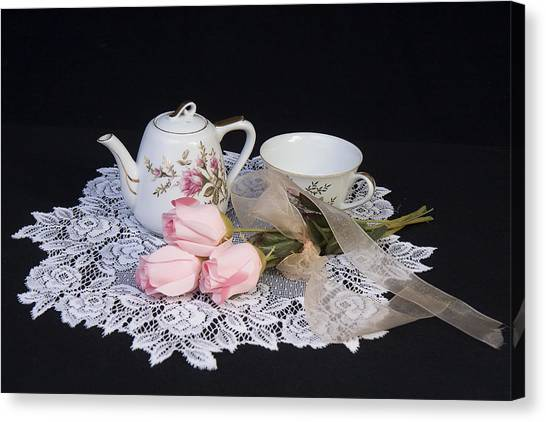 Vintage Tea Set Canvas Print by Trudy Wilkerson