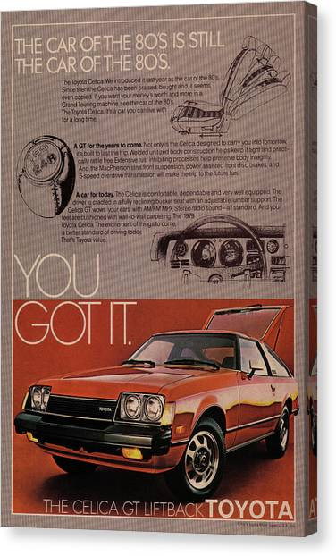 Toyota Canvas Print - Vintage Toyota Celica Car Poster by Design Turnpike