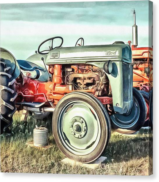 Squares Canvas Print - Vintage Tractors Pei Square by Edward Fielding