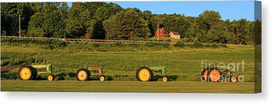 New Hampshire Canvas Print - Vintage Tractors Sunset Panoramic by Edward Fielding