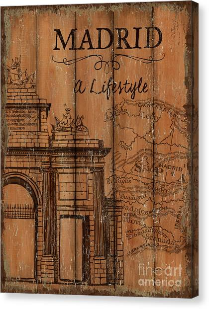 Spain Canvas Print - Vintage Travel Madrid by Debbie DeWitt