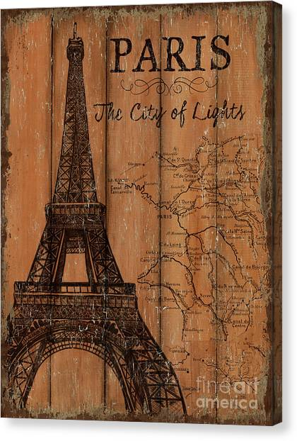 Eiffel Tower Canvas Print - Vintage Travel Paris by Debbie DeWitt