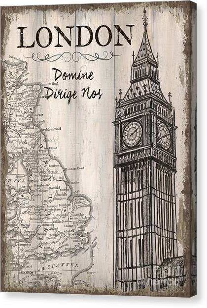 London Canvas Print - Vintage Travel Poster London by Debbie DeWitt