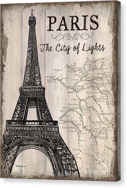 Eiffel Tower Canvas Print - Vintage Travel Poster Paris by Debbie DeWitt