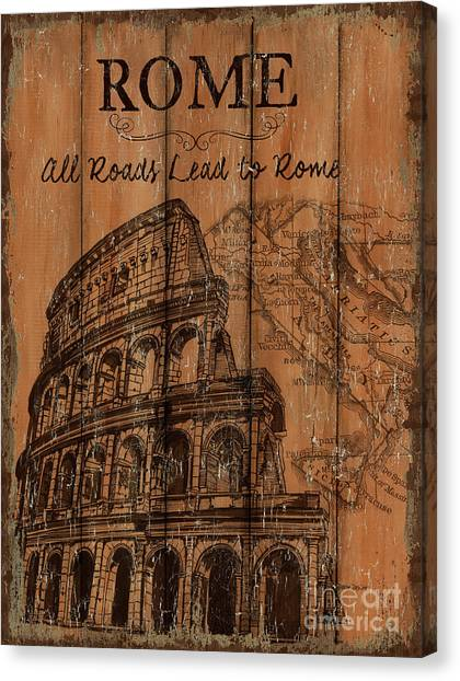 Script Canvas Print - Vintage Travel Rome by Debbie DeWitt