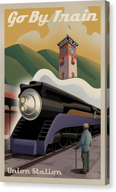 Postcards Canvas Print - Vintage Union Station Train Poster by Mitch Frey
