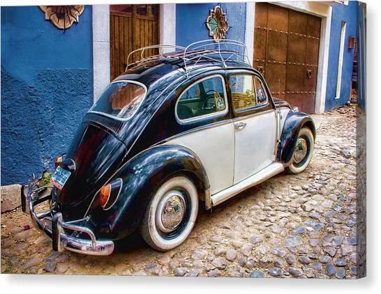 San Miguel De Allende Canvas Print - Vintage Vw Bug In Mexico by Carol Leigh