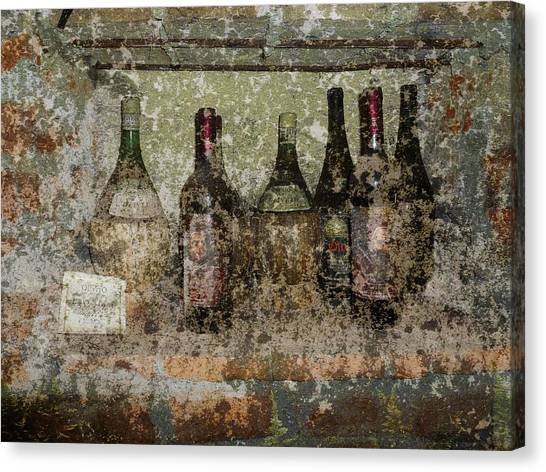 Vintage Wine Bottles - Tuscany  Canvas Print by Jen White