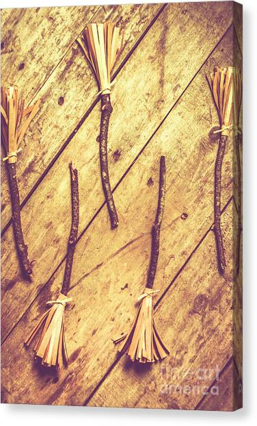 Witches Canvas Print - Vintage Witches Broomsticks by Jorgo Photography - Wall Art Gallery