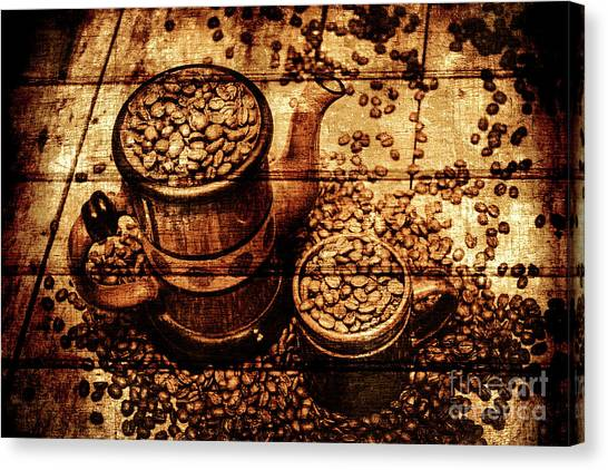 Coffee Shops Canvas Print - Vintage Wooden Coffee Shop Sign by Jorgo Photography - Wall Art Gallery