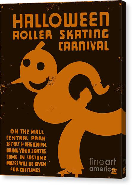Roller Skating Canvas Print - Vintage Wpa Halloween Roller Skating Carnival Poster by Edward Fielding