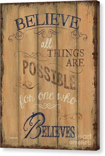 Holy Bible Canvas Print - Vintage Wtlb Believe by Debbie DeWitt