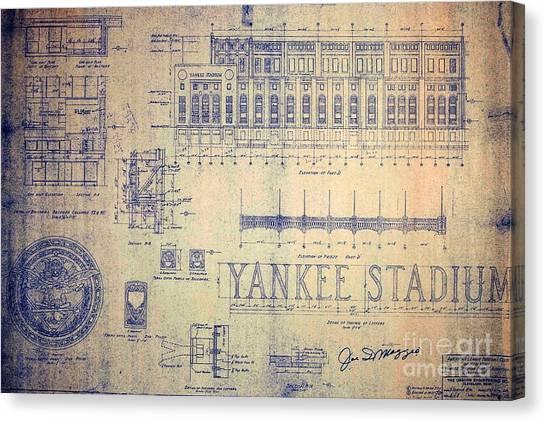 Joe Dimaggio Canvas Print - Vintage Yankee Stadium Blueprint by Peter Gumaer Ogden