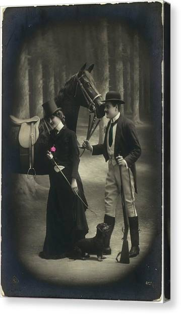 Vintage Young Woman And Man With Gun Canvas Print by Gillham Studios