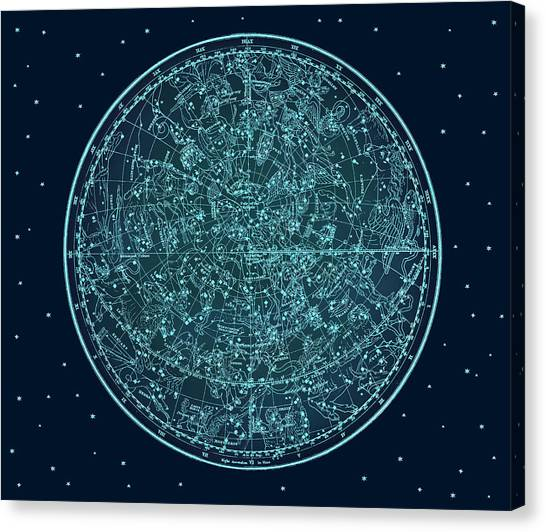 Vintage Zodiac Map - Teal Blue Canvas Print