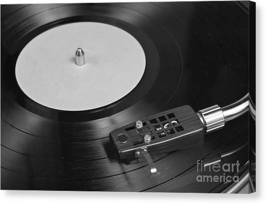Vinyl Record Playing On A Turntable Overview Canvas Print
