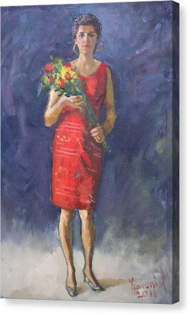 Flower Bouquet Canvas Print - Viola In Red by Ylli Haruni