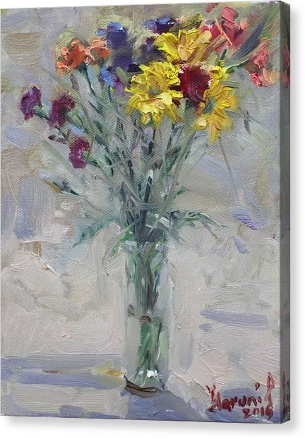 Flower Bouquet Canvas Print - Viola's Flowers by Ylli Haruni