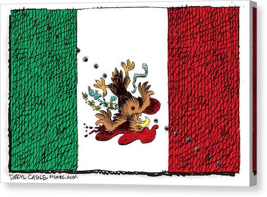 Canvas Print featuring the drawing Violence In Mexico by Daryl Cagle