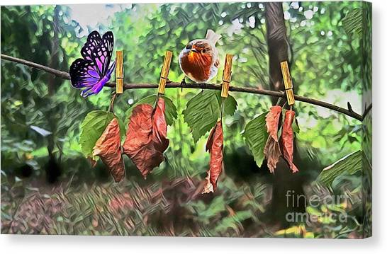 Violet And Robin Canvas Print