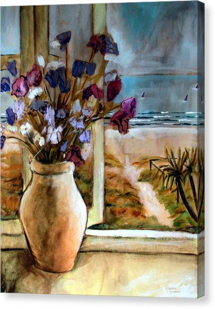 Violet Beach Flowers Canvas Print