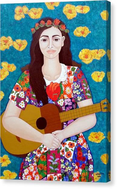 Violeta Canvas Print - Violeta Parra And The Song The Gardener  by Madalena Lobao-Tello
