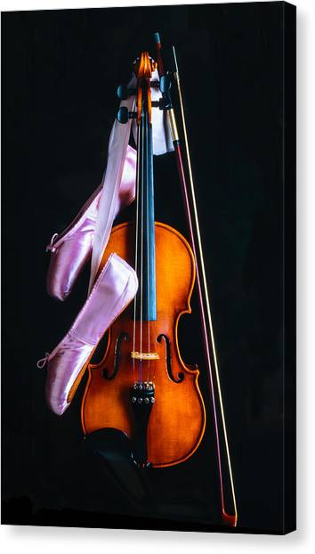 Fiddling Canvas Print - Violin And Pointe Shoes by Garry Gay