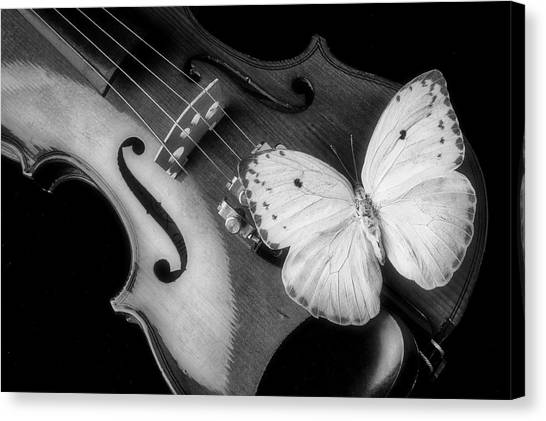 Concert Images Canvas Print - Violin And Yellow Butterfly In Black And White by Garry Gay