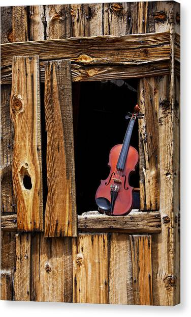Fiddles Canvas Print - Violin In Window by Garry Gay